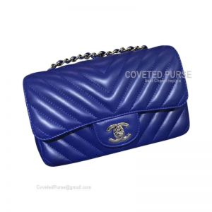 Chanel Medium Flap Bag Electric Blue Lambskin Chevron With Silver HW
