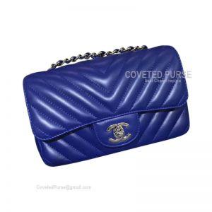 Chanel Medium Flap Bag Electric Blue Lambskin Chevron With Silver HW