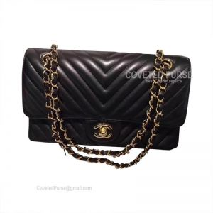 Chanel Medium Flap Bag Black Lambskin Chevron With Gold HW