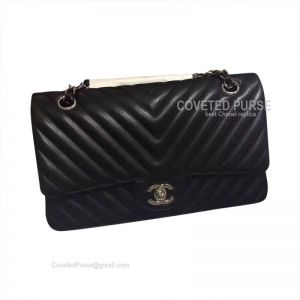 Chanel Medium Flap Bag Black Lambskin Chevron With Silver HW