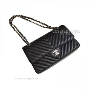 Chanel Medium Flap Bag Lambskin Black Chevron With Silver HW