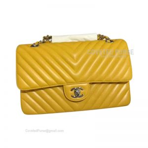 Chanel Medium Flap Bag Mango Yellow Lambskin Chevron With Silver HW
