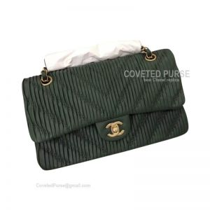 Chanel Medium Flap Bag Dark Green Lambskin Chevron With Gold HW