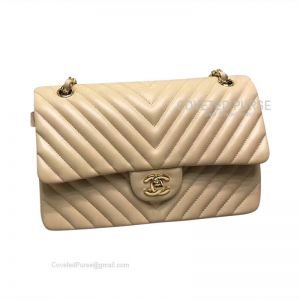 Chanel Medium Flap Bag Apricot Lambskin Chevron With Gold HW