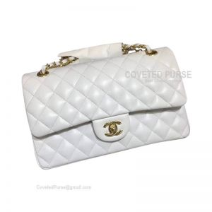 Chanel Medium Flap Bag White Lambskin With Gold HW
