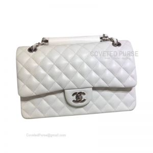 Chanel Medium Flap Bag White Lambskin With Silver HW