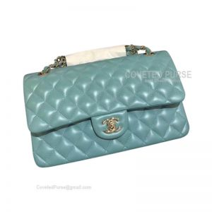 Chanel Medium Flap Bag Mint Green Lambskin With Gold HW