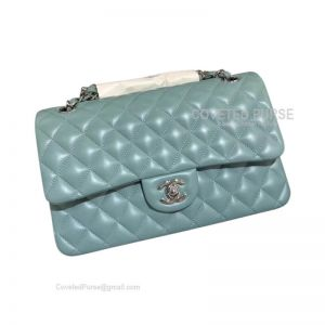 Chanel Medium Flap Bag Mint Green Lambskin With Silver HW