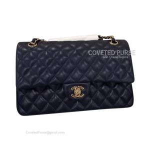 Chanel Medium Flap Bag Sapphire Lambskin With Gold HW