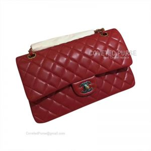 Chanel Medium Flap Bag Red Lambskin With Gold HW