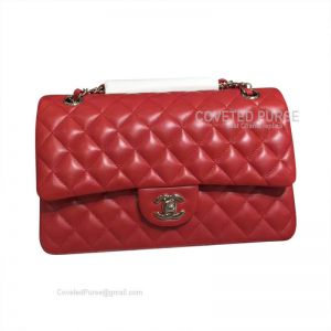 Chanel Medium Flap Bag Red Lambskin With Silver HW
