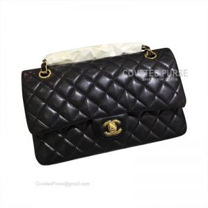 Chanel Medium Flap Bag Black Lambskin With Gold HW