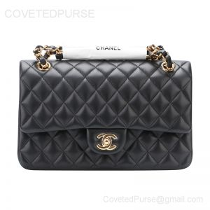 Chanel Medium Flap Bag Black Lambskin With Gold HW