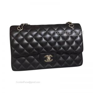 Chanel Medium Flap Bag Black Lambskin With Silver HW