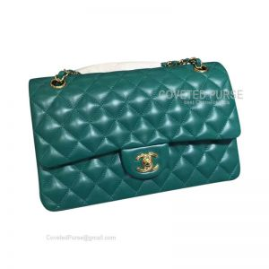 Chanel Medium Flap Bag Lake Green Lambskin With Gold HW