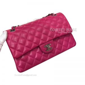 Chanel Medium Flap Bag Rose Lambskin With Silver HW