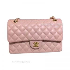Chanel Medium Flap Bag Light Pink Lambskin With Gold HW