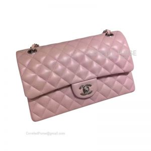 Chanel Medium Flap Bag Light Pink Lambskin With Silver HW