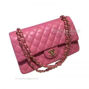 Chanel Medium Flap Bag Peach Pink Lambskin With Gold HW