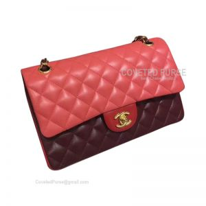 Chanel Medium Flap Bag Double Red Lambskin With Gold HW