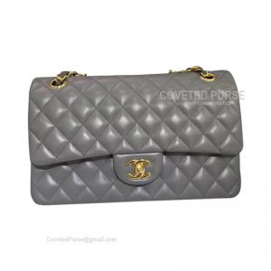 Chanel Medium Flap Bag Dark Gray Lambskin With Gold HW