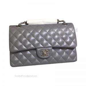 Chanel Medium Flap Bag Dark Gray Lambskin With Silver HW