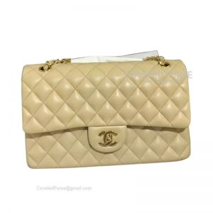 Chanel Medium Flap Bag Apricot Lambskin With Gold HW