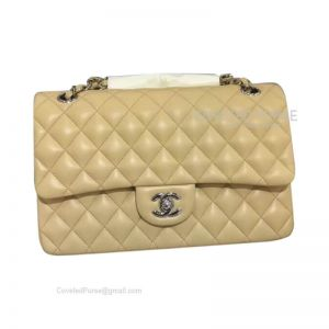 Chanel Medium Flap Bag Apricot Lambskin With Silver HW