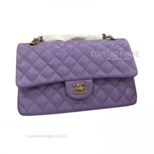 Chanel Medium Flap Bag Lavender Purple Lambskin With Gold HW