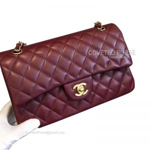 Chanel Medium Flap Bag Bordeaux Lambskin With Gold HW