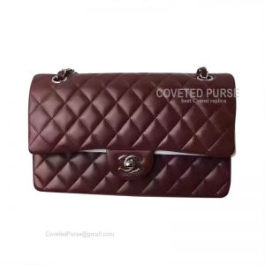 Chanel Medium Flap Bag Bordeaux Lambskin With Silver HW