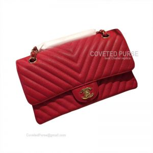 Chanel Medium Flap Bag Red Caviar Chevron With Gold HW