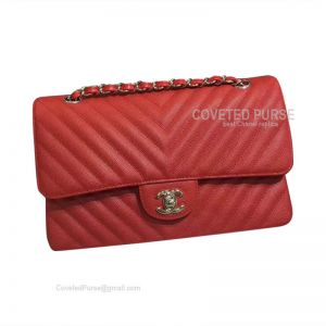 Chanel Medium Flap Bag Red Caviar Chevron With Silver HW