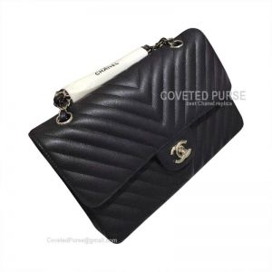 Chanel Medium Flap Bag Black Caviar Chevron With Silver HW