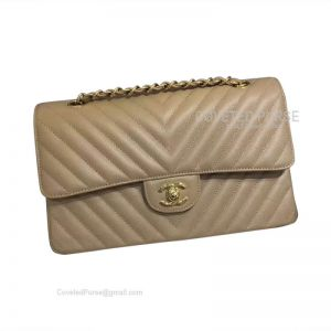 Chanel Medium Flap Bag Caramel Caviar Chevron With Gold HW