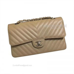 Chanel Medium Flap Bag Caramel Caviar Chevron With Silver HW