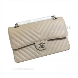 Chanel Medium Flap Bag Beige Caviar Chevron With Silver HW