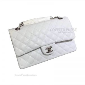 Chanel Medium Flap Bag White Caviar With Silver HW