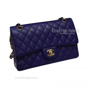 Chanel Medium Flap Bag Sapphire Caviar With Gold HW