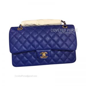 Chanel Medium Flap Bag Electric Blue Caviar With Gold HW