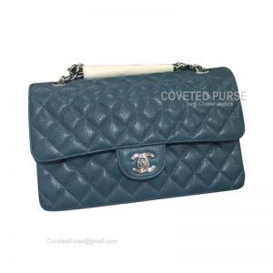 Chanel Medium Flap Bag Jade Blue Caviar With Silver HW