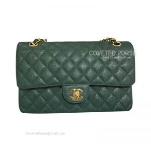 Chanel Medium Flap Bag Emerald Green Caviar With Gold HW