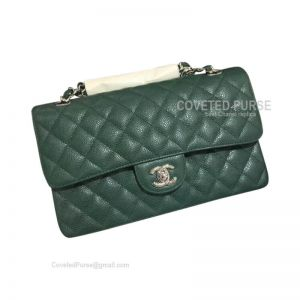 Chanel Medium Flap Bag Emerald Green Caviar With Silver HW