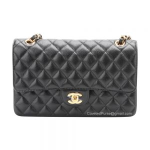 Chanel Medium Flap Bag Black Caviar With Gold HW