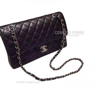 Chanel Medium Flap Bag Black Caviar With Shiny Silver HW