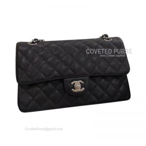 Chanel Medium Flap Bag Black Caviar With Silver HW