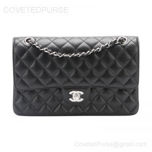 Chanel Medium Flap Bag Black Caviar With Silver HW