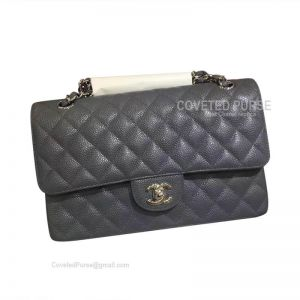 Chanel Medium Flap Bag Grey Blue Caviar With Silver HW