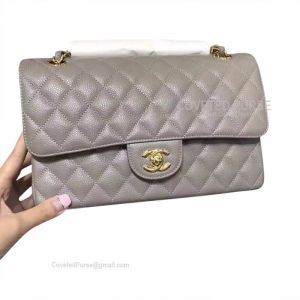 Chanel Medium Flap Bag Gray Caviar With Gold HW