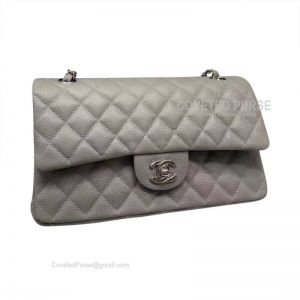 Chanel Medium Flap Bag Gray Caviar With Silver HW